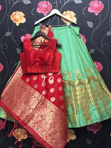 Green Banarasi Brocade Silk Lehenga with Red Crop Top Blouse