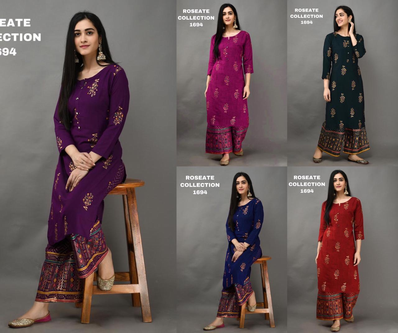 Purple Foil Print Kurti Palazzo Indian Salwar Suit Design Online