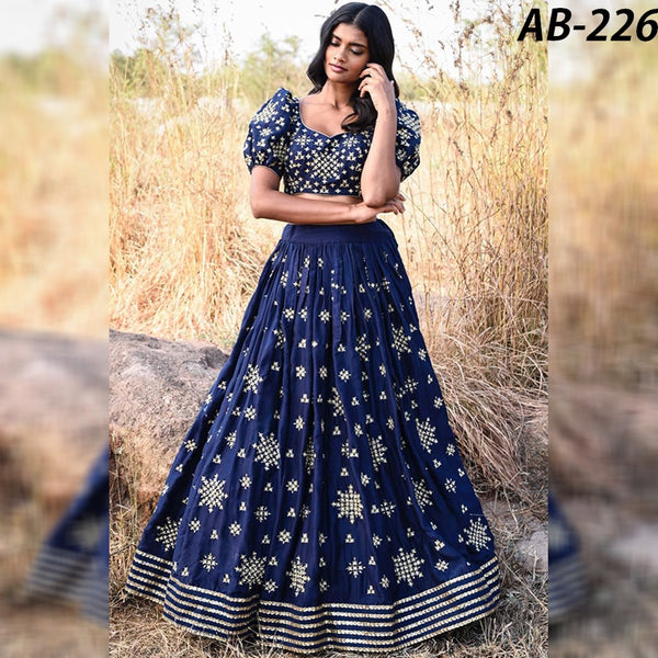 Navy Blue  Taffeta Silk Embroidery New Patola Lehenga Choli Online