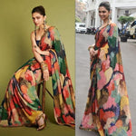 Deepika Padukone Multi Color Digital Print Latest Bollywood Sarees
