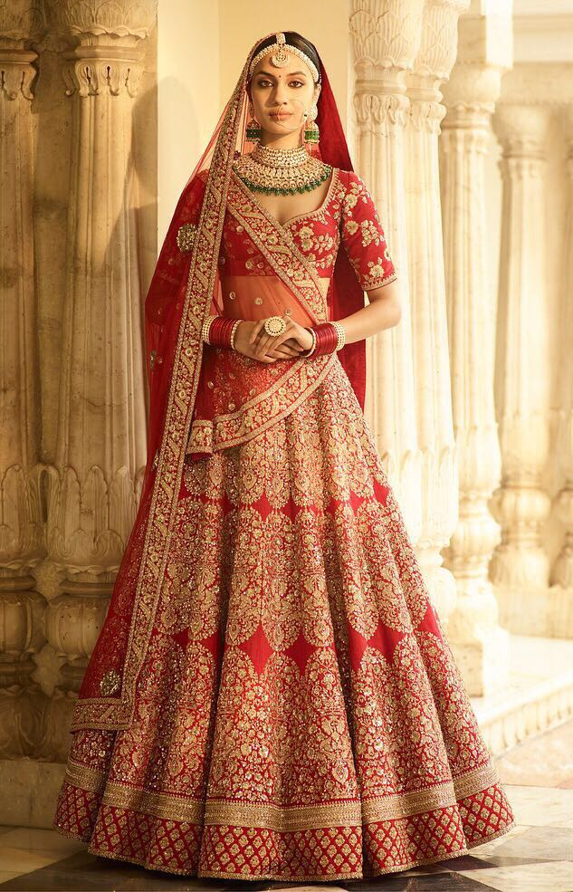 077a339d64f Beautifully Embroidered Red Silk Indian Bridal Lehenga Cholis