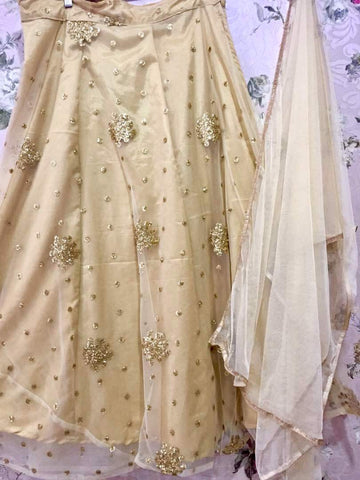 Beige Net With Sequins Work Bollywood Lehenga Choli