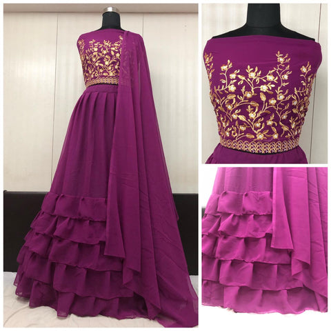 Purple Georgette Ruffle Latest Party Lehenga Designs