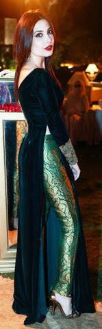 Dark Green Velvet Brocade Long Suits Indian Dresses
