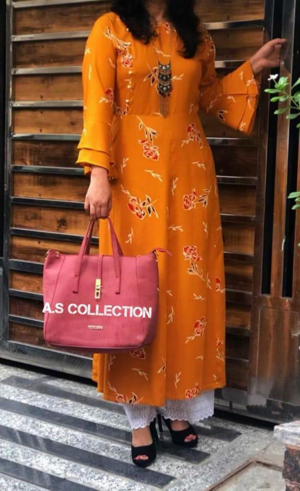 Mustard Yellow Printed Rayon Long Lucknowi Kurtis Sets Online