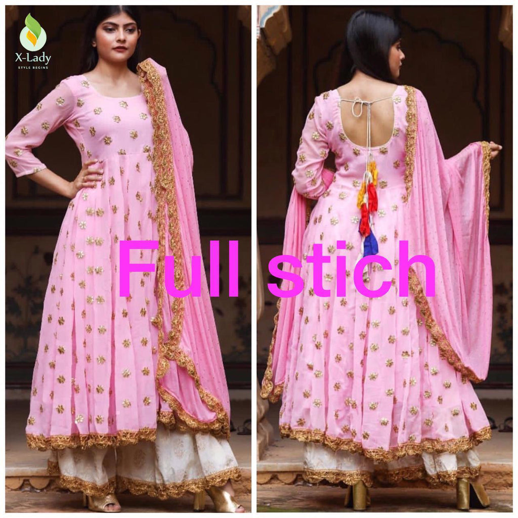 Pink Georgette Latest Fashion Kurti Palazzo Suits Online Buy