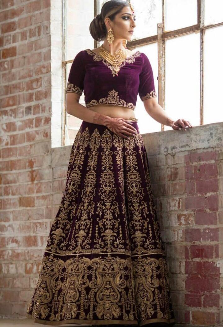Wine Color Embroidered Velvet Latest Party Wear Lehenga Choli