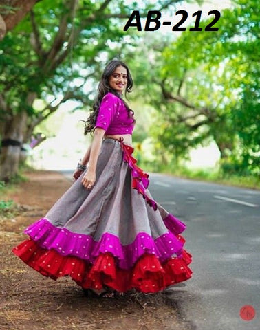Gray Pink Ruffle Lehenga Choli Paty Wear Indian Dresses