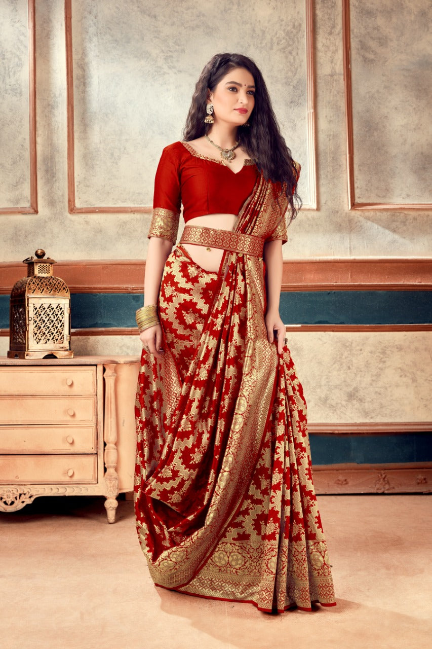 Red Banarasi Silk Butti Weaves with Heavy Border Indian Saree Designs
