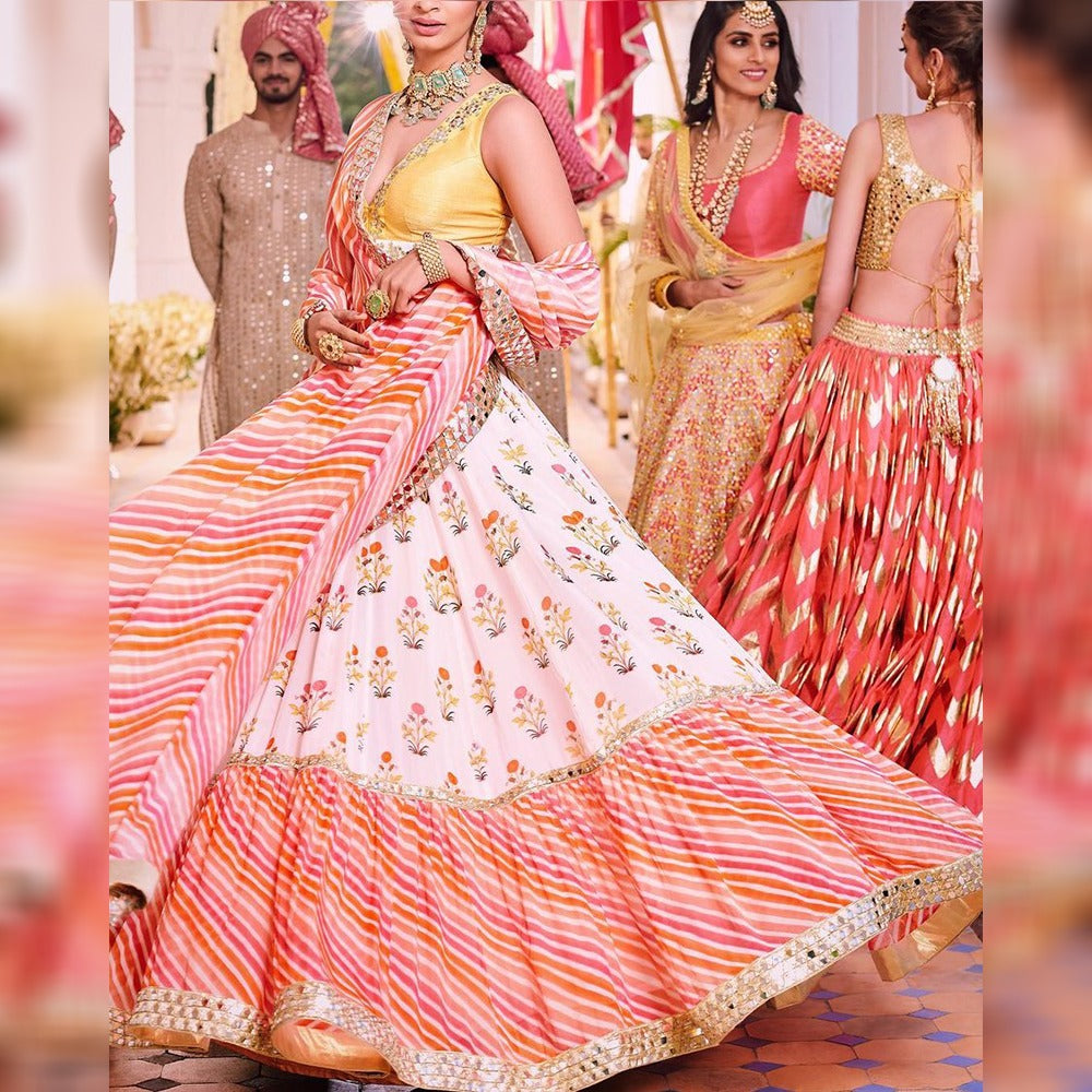 Off-White Georgette Latest Leheriya Lehenga Choli Online India
