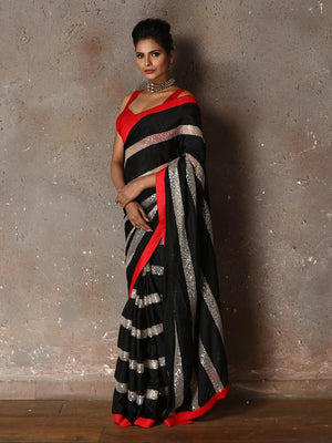 Black Georgette And Sequins Party Wear Latest Saree Designs