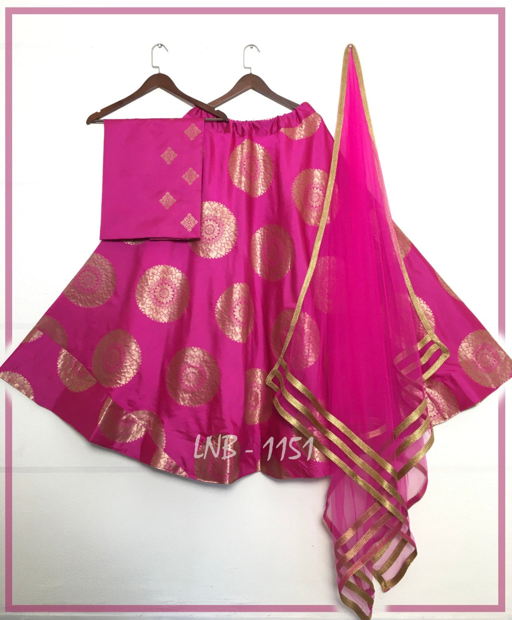 Pink Jacquard Banarasi Silk Indian Lehenga Choli Online Buy