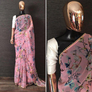 Light Pink Pearl Lace Floral Print Saree Online Shopping In India