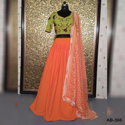 Dusty Orange Crepe Lehenga Choli Online Shopping With Price