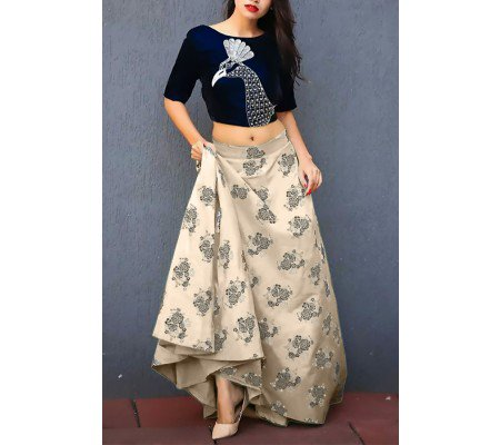 Blue And Cream Jacquard Print Peacock Lehenga Blouse Online