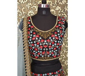 Black Embroidered Taffeta Silk Lengha Choli Online Shopping