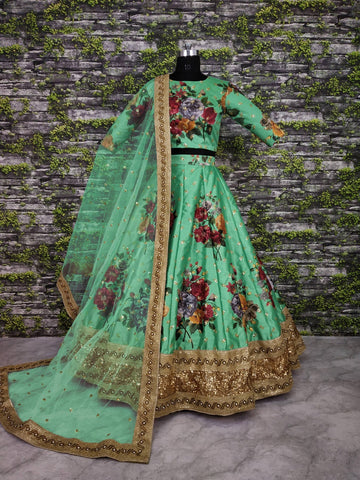 Green Digital Floral Print Partywear Lengha Choli Online Shopping