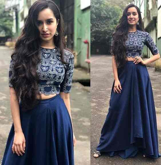 Shraddha Kapoor Blue Taffeta Party Wear Crop Top Lehenga Online Buy