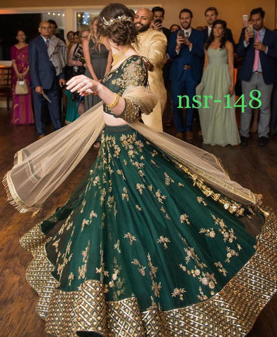 Dark Green Georgette Embroidered Party Wear Lehenga Designs