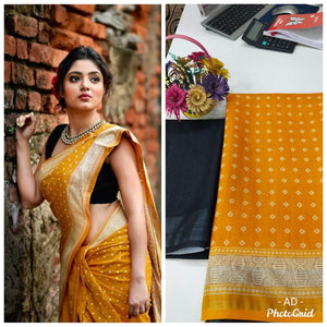 Mustard Linen Digital Print Sarees And Dresses Online