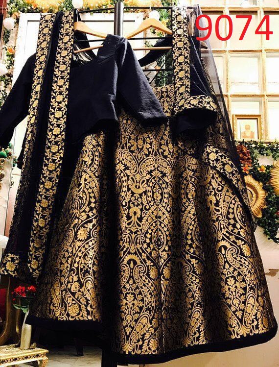 Black Embroidered Taffeta Silk Latest Indian Lehenga Choli Online