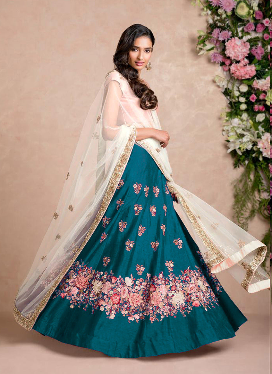 Teal Blue Silk Embroidery Bollywood Fashion Lehenga Designs Online