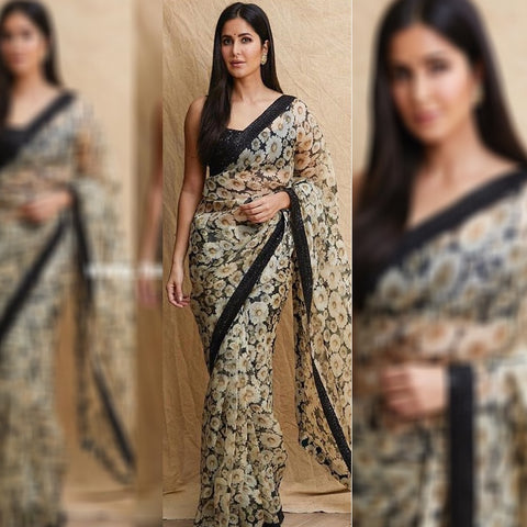 Katrina Kaif Black With Off-White Floral Printed Saree Blouse Online
