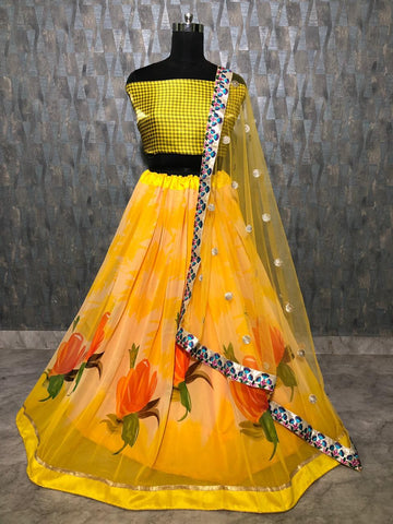 Yellow Floral Printed Georgette Silk Latest Lehenga Blouse Design Online