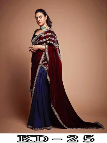 Kajol Maroon Blue Velvet Georgette Bollywood  Indian Saree Design