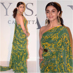 Alia Bhatt Green Printed Ruffle Bollywood Saree Online Shopping
