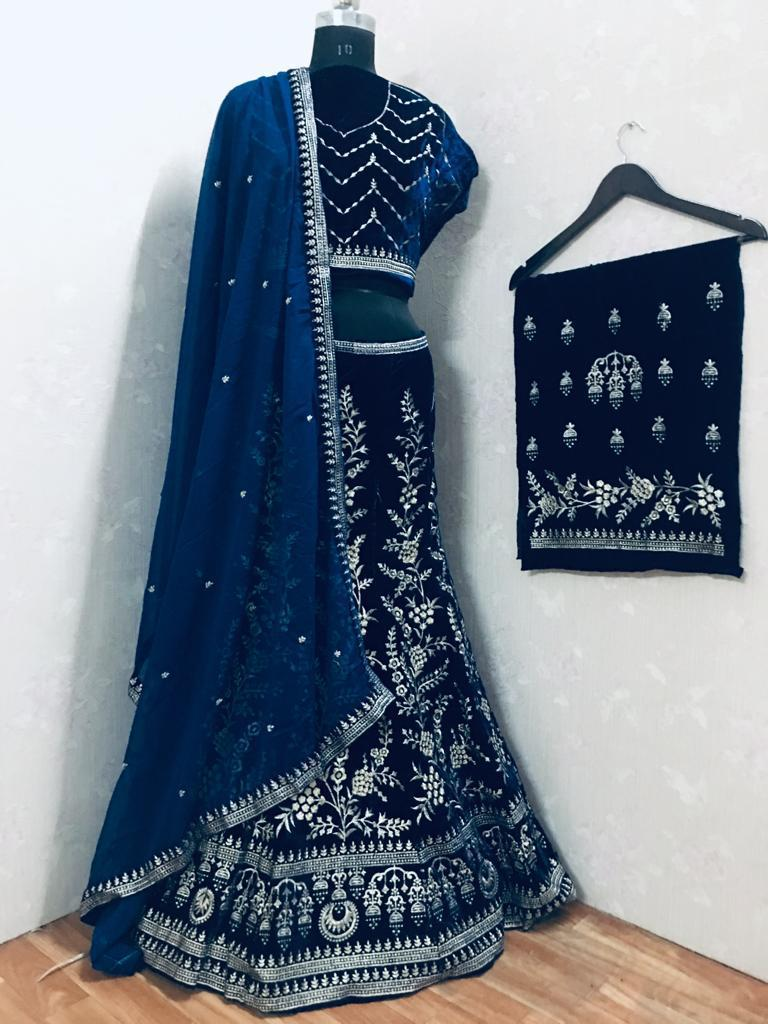 Embroidered Blue Viscose Velvet Indian Party Lehenga Collection