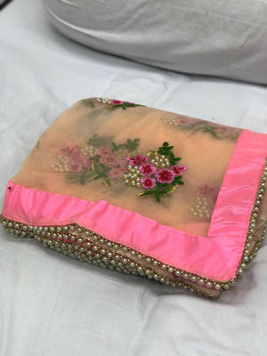 Beautiful Pearl Lace Saree and Blouse at Indian Dresses