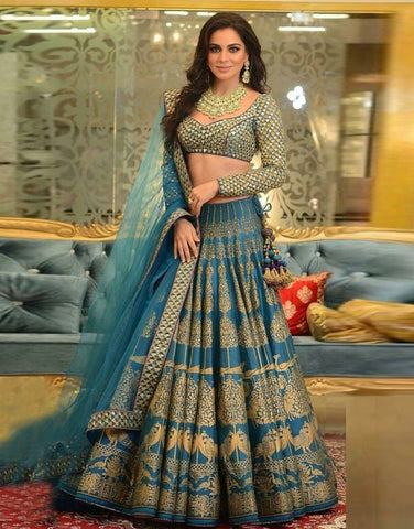 Peacock Blue Silk Printed Lehenga Choli Online Shopping In Indian