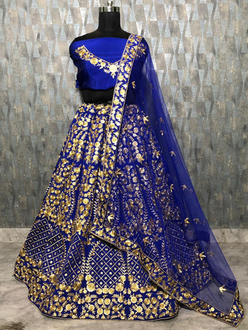 Royal Blue Taffeta Silk Lehenga Choli With Dupatta Designer Wedding Lehengas