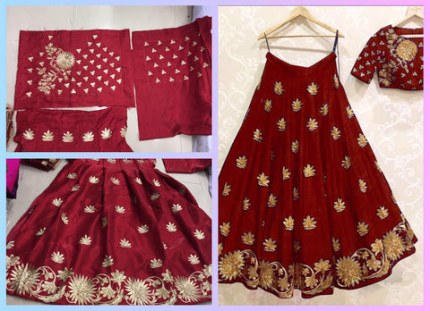 Maroon Satin Silk Bollywood Indian Lehenga Online Shopping