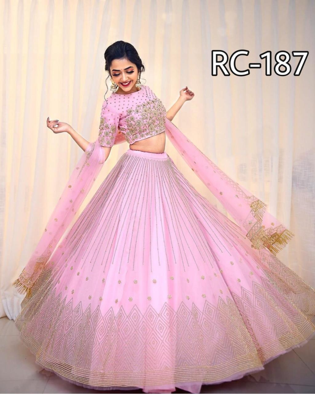 Light Pink Net Embroidered Latest Ghagra Dress Online Shopping