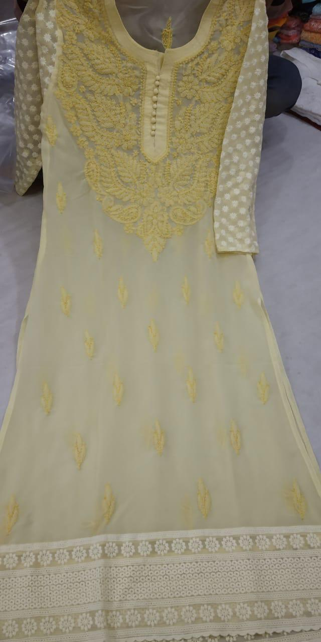 Light Yellow Georgette Embroidered Long Lucknowi Kurtis In India