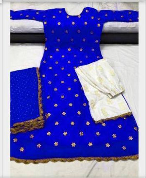 Blue Georgette Kurti Palazzo Sets  For Women Online Shopping