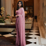 Light Pink Sequins Indian Saree in Georgette with Plain Silk Blouse