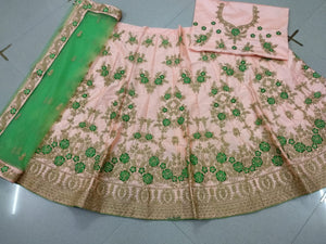 Peach Embroidered Silk Latest Women Wedding Ghagra Designs
