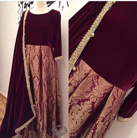 Brocade Velvet Maroon Bollywood Indian Kameez Salwar ,Indian Dresses - 1