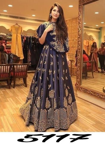 Navy Blue Banglori Satin Embroidered New Style Lehenga Choli Online