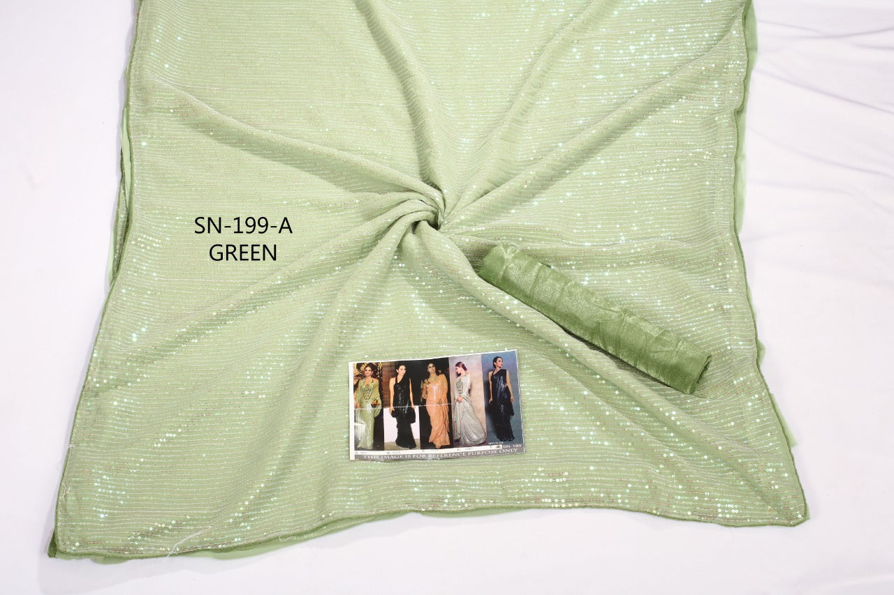 Light Green Sequined Georgette Latest Designer Sarees Online Shopping