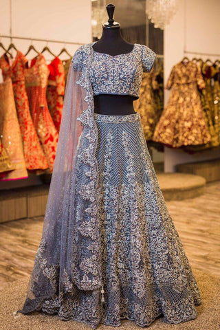 Gray Embroidered Banarasi Silk Bollywood Wedding Lehengas