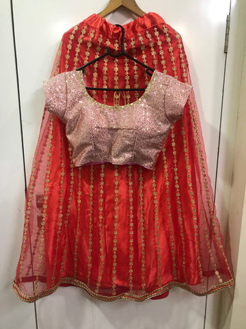 Red Net Fancy Zari Thread Work New Lehenga Choli Online