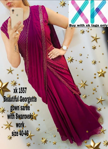 Magenta Georgette Ready To Wear Gown New Fashion  Sarees Online Shopping