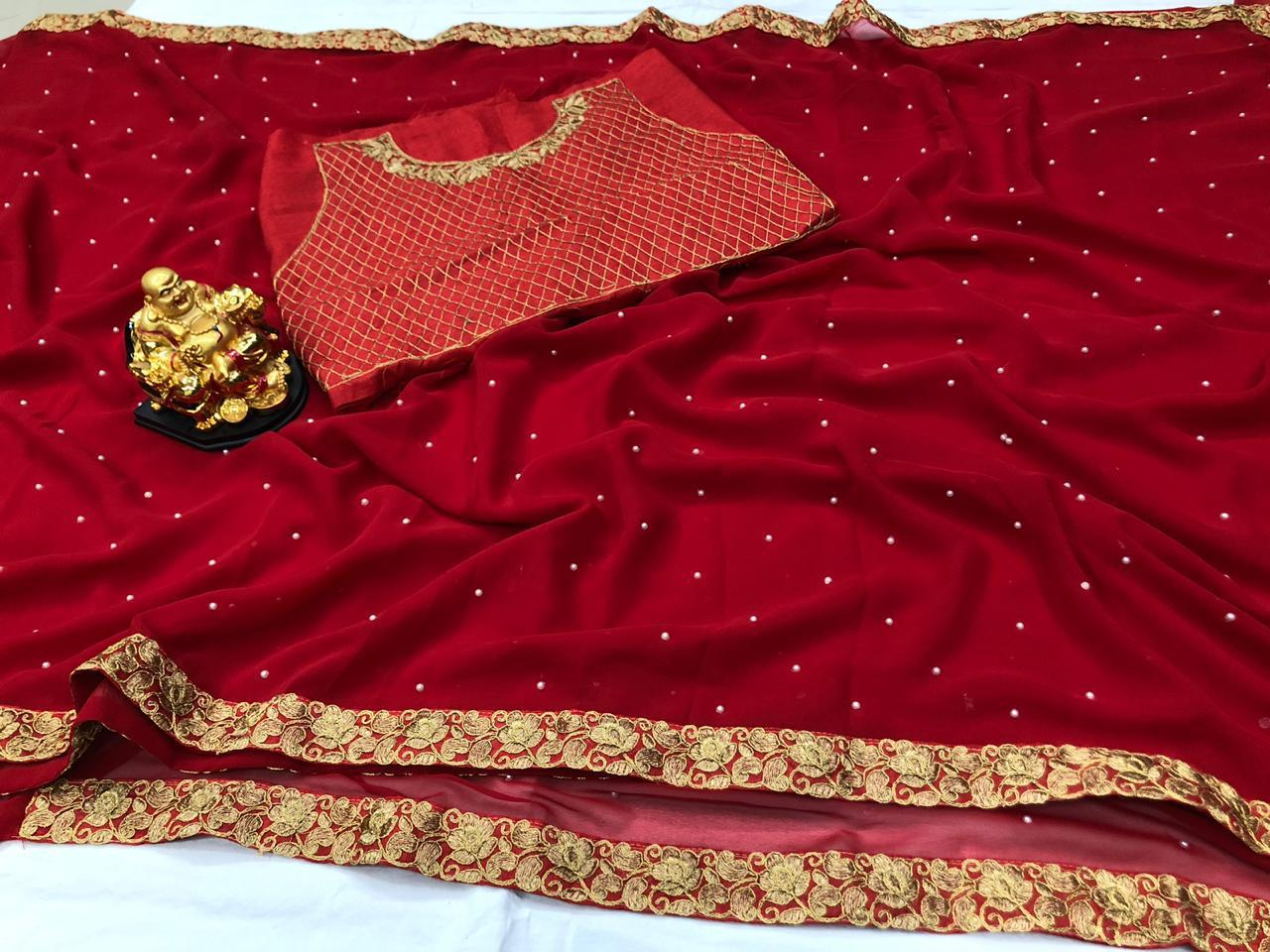 Fancy Red Georgette Party Wear Latest Saree Blouse India Online Buy