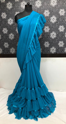 Light Blue Georgette Ruffle Cheap Price Sarees Online Shopping