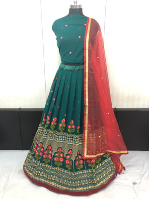 Green Embroidered Georgette Party Wear Latest Lehnga Dress Design