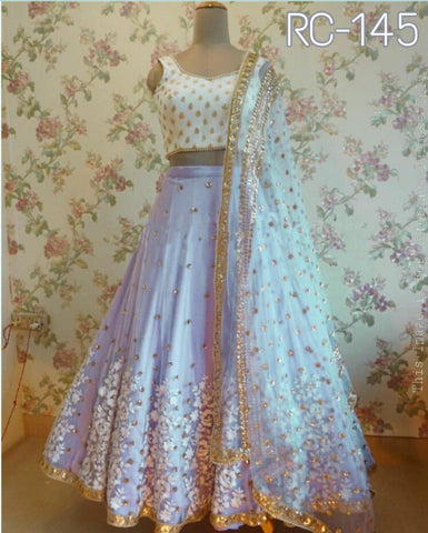 Lilac Organza Embroidery Party Wear Lengha Choli Online Shopping